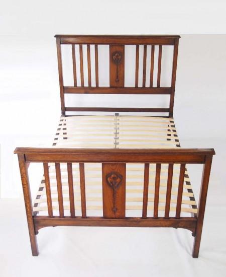Antique Edwardian Oak Double Bed