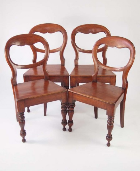 Set 4 Antique Victorian Balloon Back Chairs