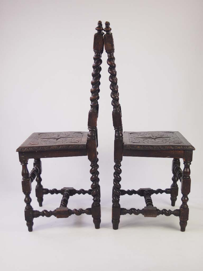 Pair Antique Victorian Gothic Oak Hall Chairs