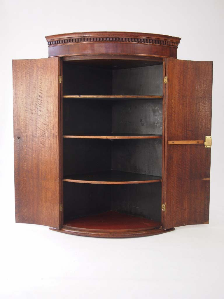 Georgian Bow Fronted Oak Corner Cupboard