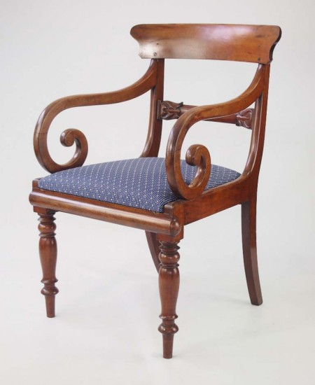 Antique Mahogany Open Armchair / Desk Chair