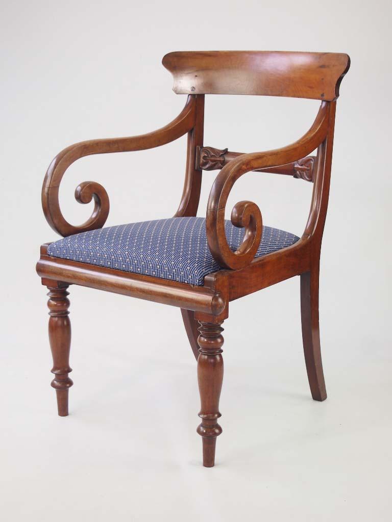 Antique Mahogany Open Armchair / Desk Chair
