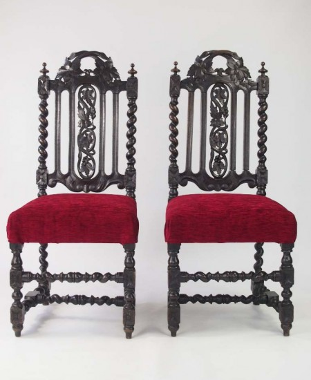 Pair Victorian Gothic Oak Chairs