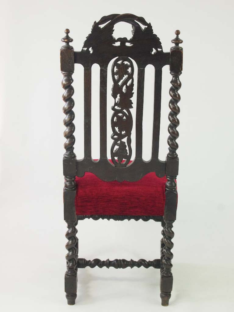 Pair Antique Victorian Gothic Oak Chairs