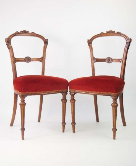Pair Late Victorian Walnut Balloon Back Chairs