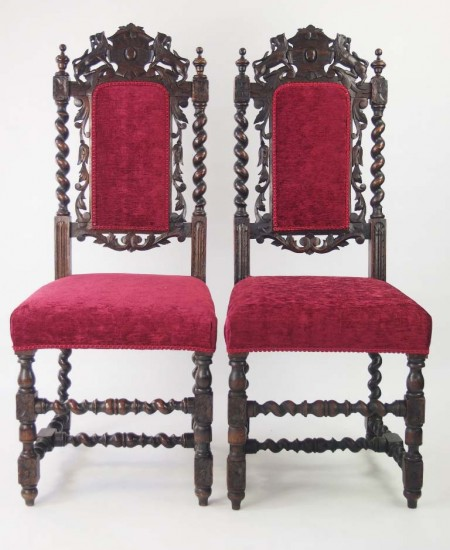 Pair Victorian Gothic Revival Chairs