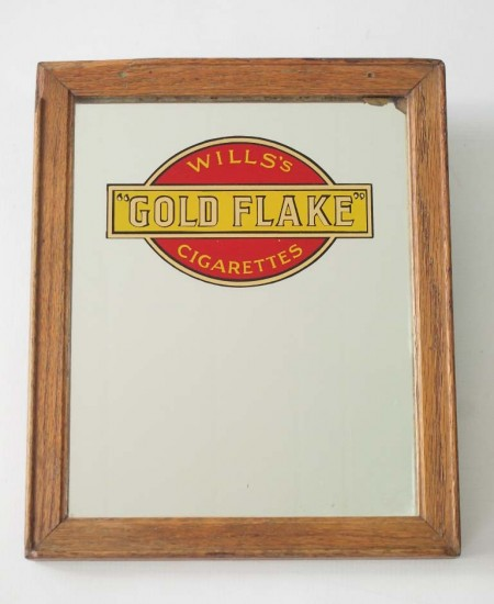 "Small Vintage Advertising Mirror ""Wills's Gold Flake"""