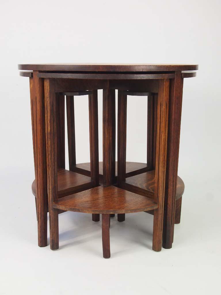 Vintage Nest Of 5 Oak Tables