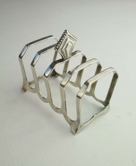 Pair Art Deco Silver Toast Racks