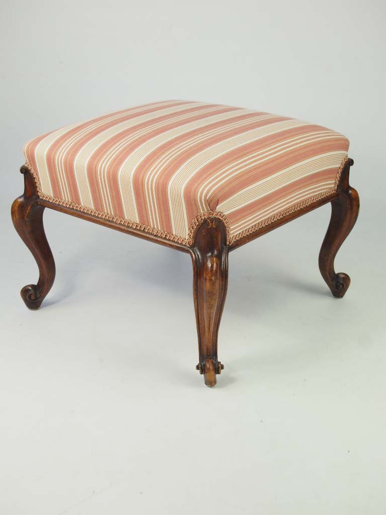 Antique Bed Stool: Antique Victorian Walnut Stool With Cabriole Legs