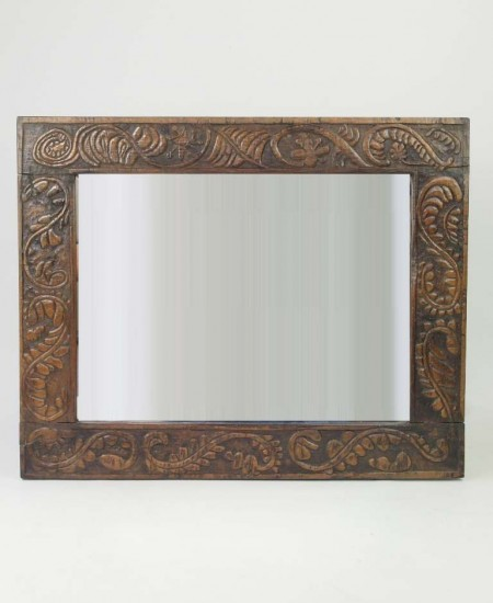 Antique Carved Oak Mirror