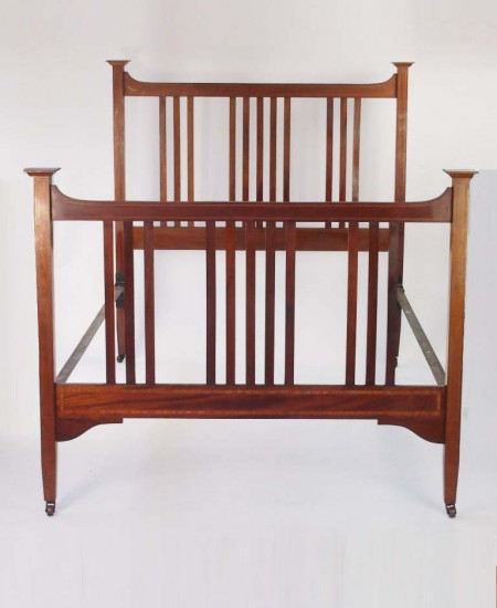 Antique Edwardian Mahogany Double Bed
