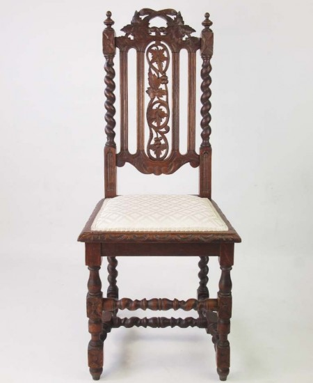Pair Victorian Gothic Oak Chairs
