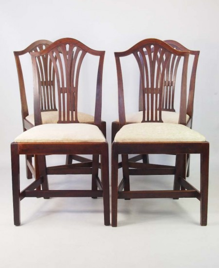 Set 4 Antique Georgian Ash Dining Chairs