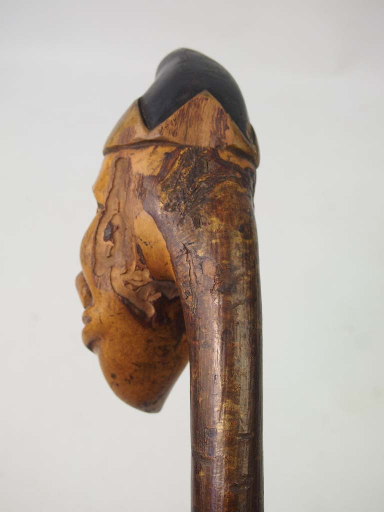 Carved Mr Punch Walking Stick Victorian Stage Prop