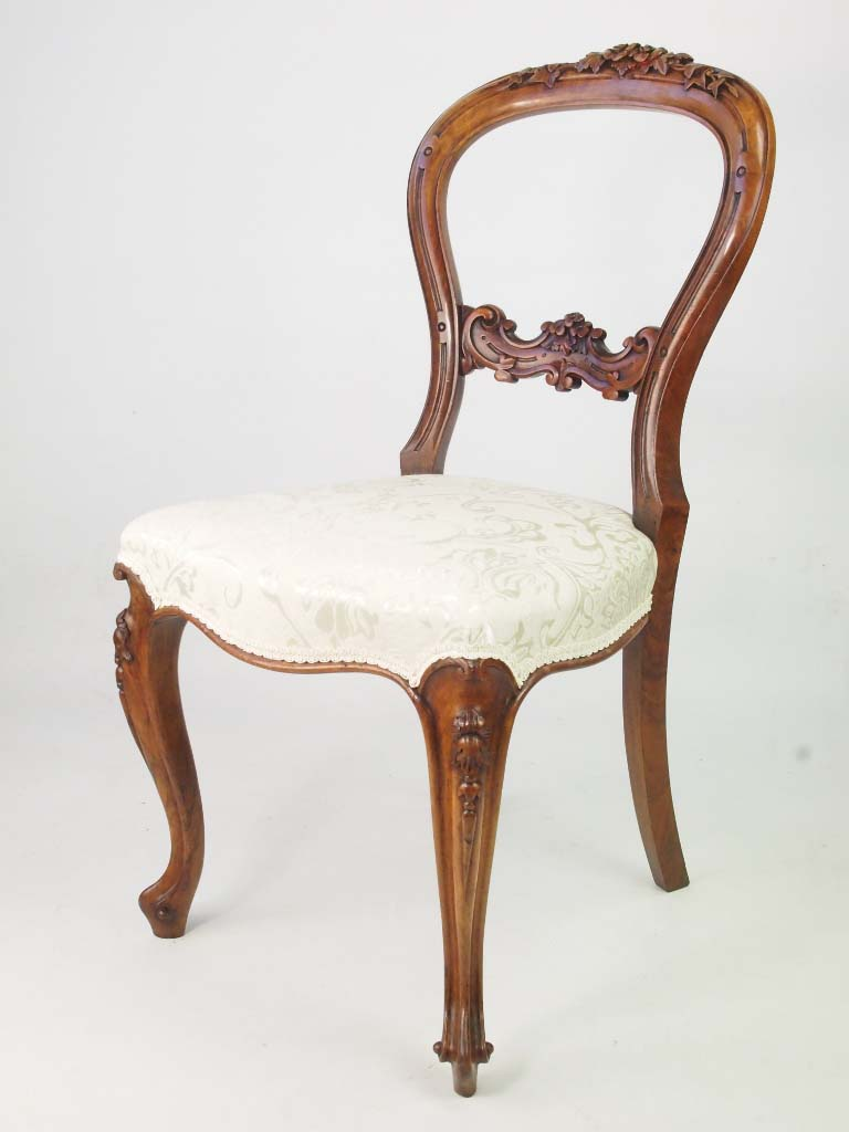 Victorian Walnut Balloon Back Chair With Rose Carving