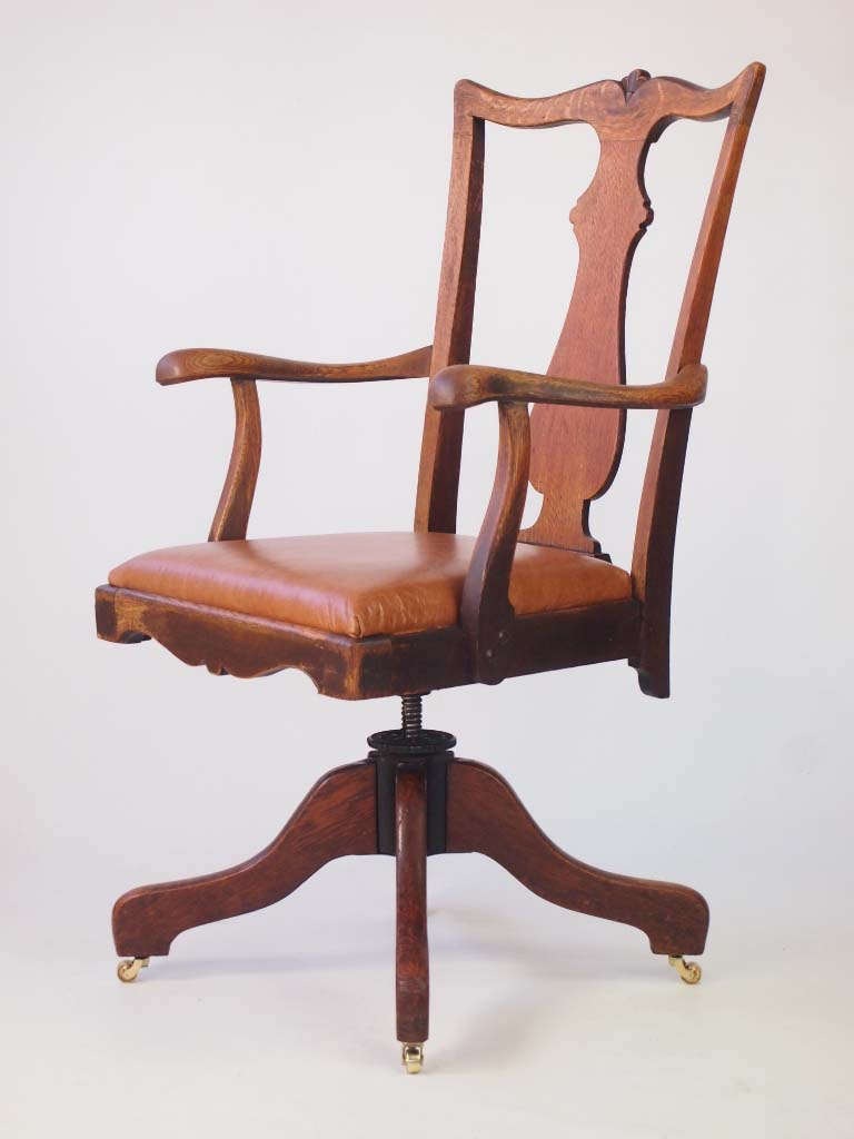Oak And Leather Swivel Desk Chair By J S Ford Johnson