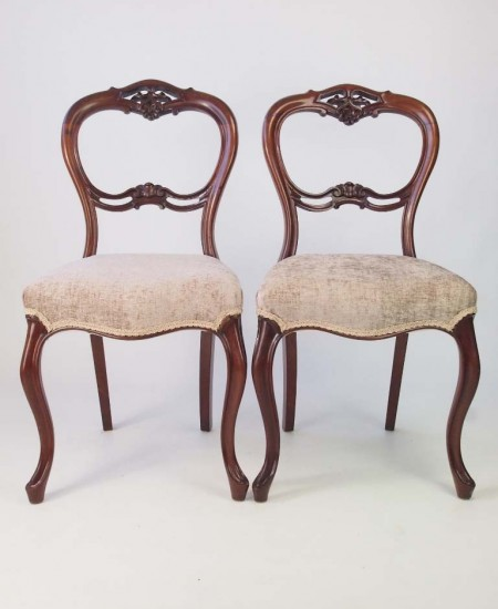 Pair Antique Victorian Mahogany Balloon Back Chairs