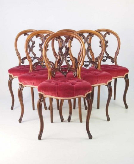 Set 6 Antique Victorian Walnut Balloon Back Chairs