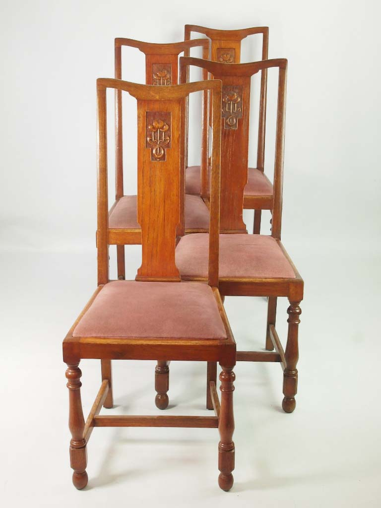 Set 4 Vintage Oak Dining Chairs