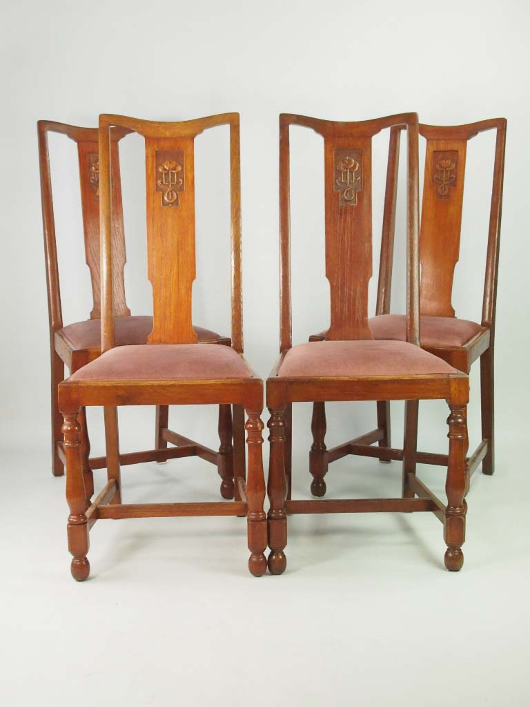 Set 4 Vintage Oak Dining Chairs