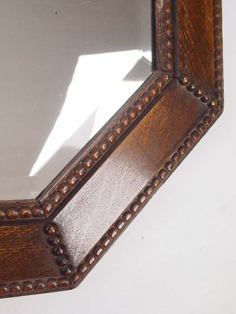 Large Vintage Oak Framed Mirror Overmantle