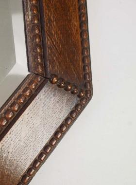 Vintage Hexagonal Oak Framed Mirror