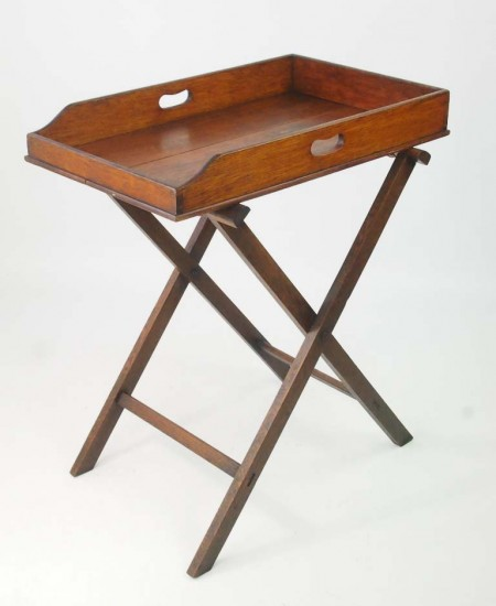Antique Victorian Oak Butlers Tray on Stand