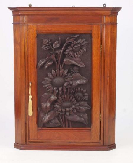 Small Antique Carved Walnut Corner Cabinet