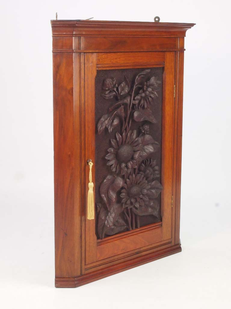 Small Victorian Sunflower Carved Corner Cabinet