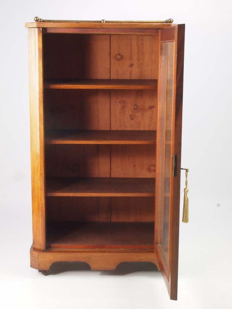 Antique Victorian Walnut Music Cabinet Bookcase
