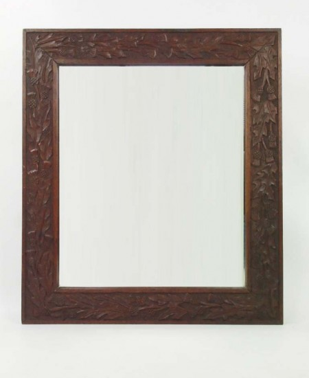 Thistle Carved Oak Mirror