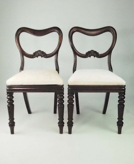 Pair Antique Victorian Balloon Back Chairs