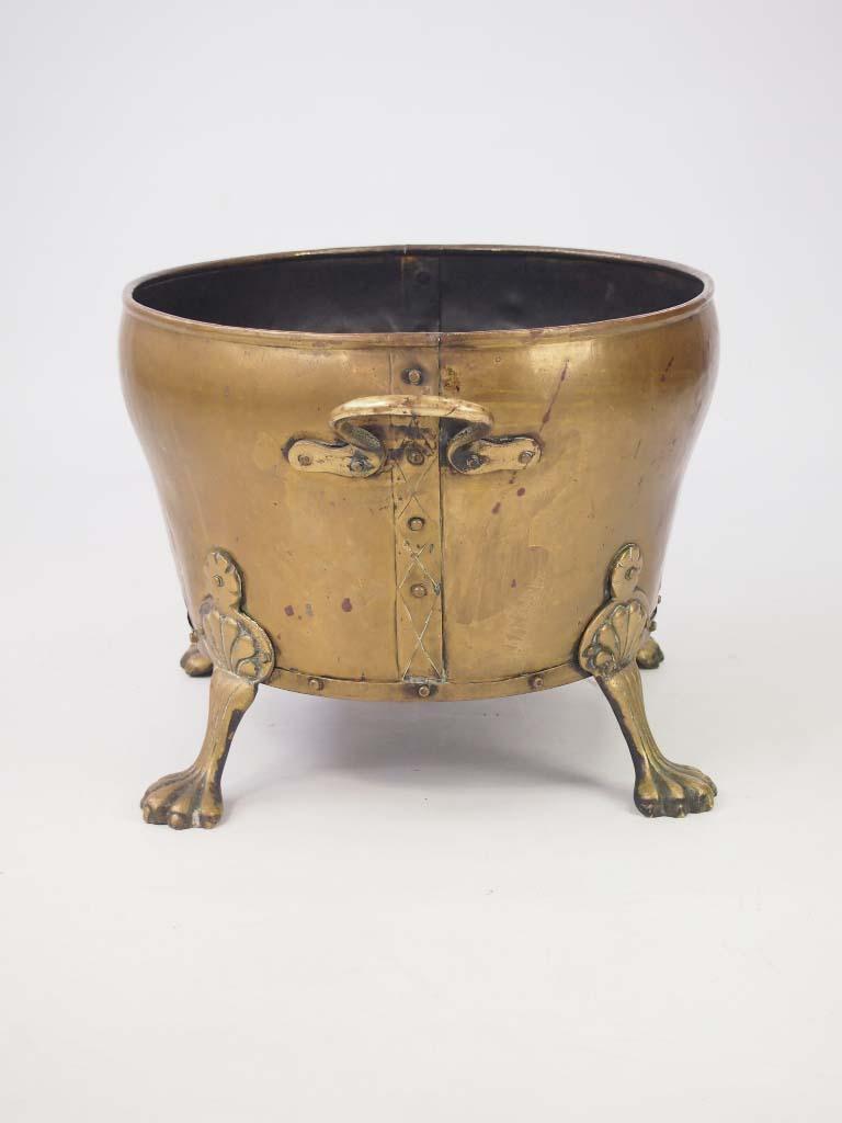 antique brass log bin    coal bucket