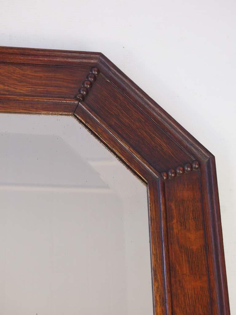Vintage Oak Framed Mirror Overmantle