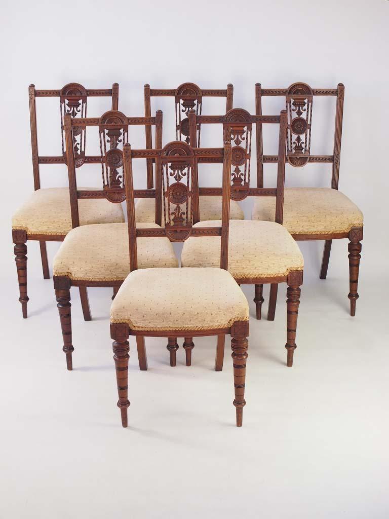 Set 6 Edwardian Walnut Dining Chairs