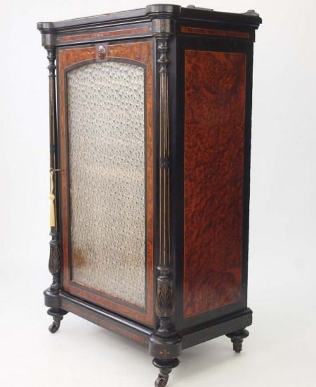 Victorian Ebonised and Amboyna Music Cabinet