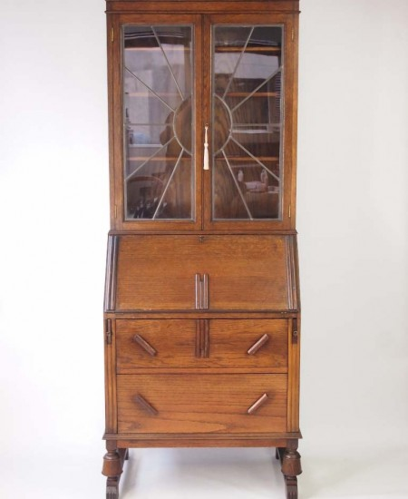 Art Deco Oak Bureau Bookcase