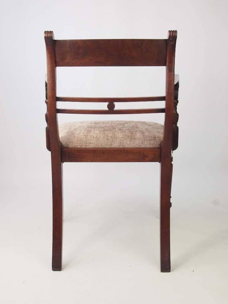 Antique Regency Mahogany Desk Chair Open Armchair