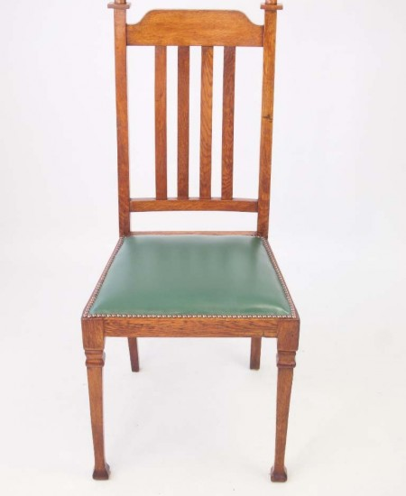 Pair Edwardian Arts Crafts Oak Chairs