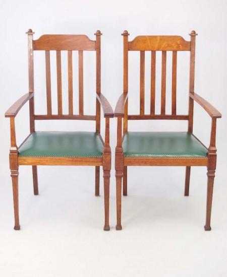 Pair Edwardian Arts Crafts Oak Armchairs