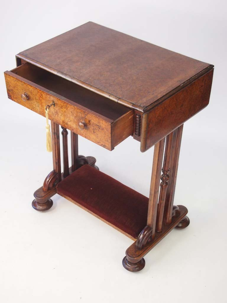 Small Victorian Burr Walnut Drop Leaf Side Table