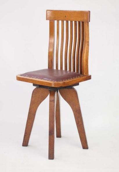 Small Vintage Oak Swivel Desk Chair
