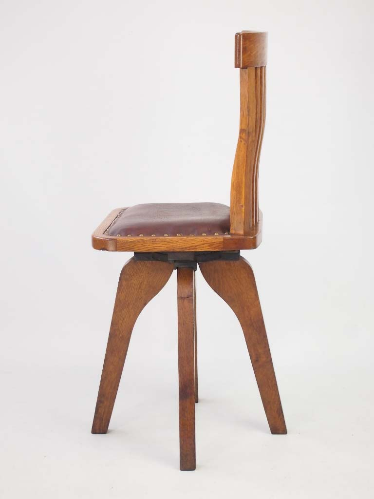 Unusual Small Oak Swivel Desk Chair