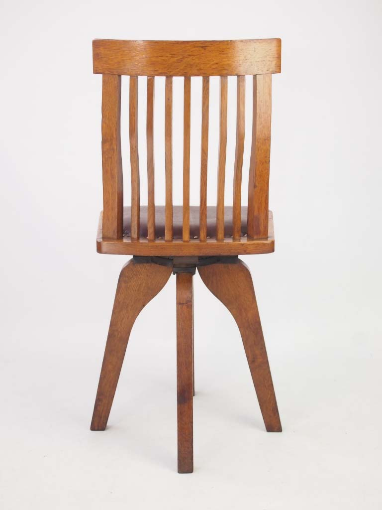 Unusual Small Oak Swivel Desk Chair