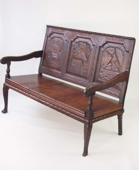 Antique Carved Oak Settle