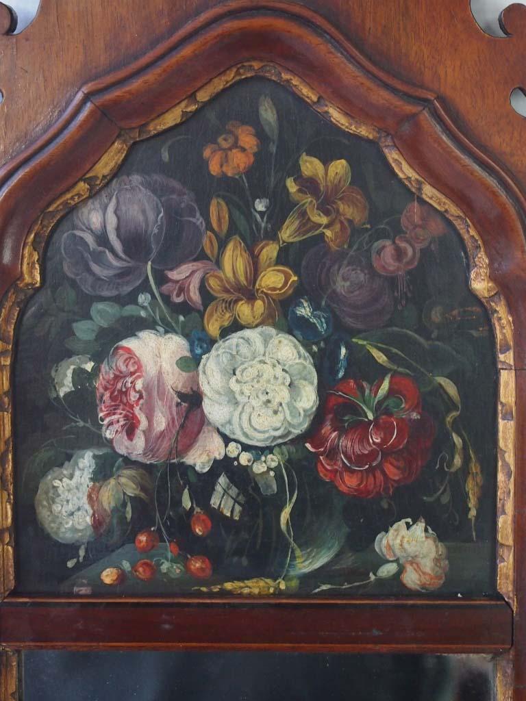 antique edwardian floral painted fretwork mirror