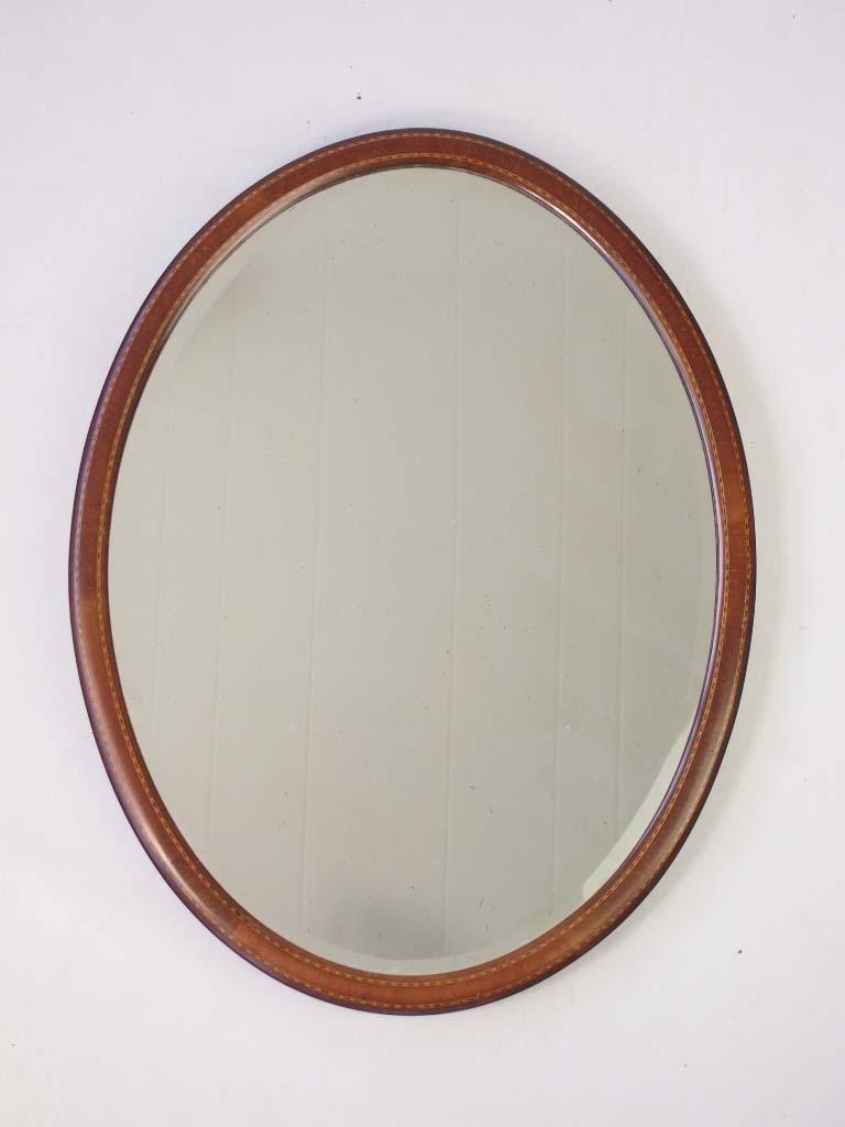 Small Edwardian Oval Mahogany Framed Mirror
