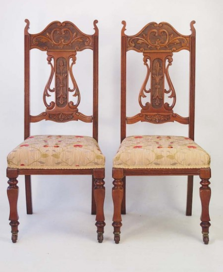 Pair Edwardian Art Nouveau Side Chairs