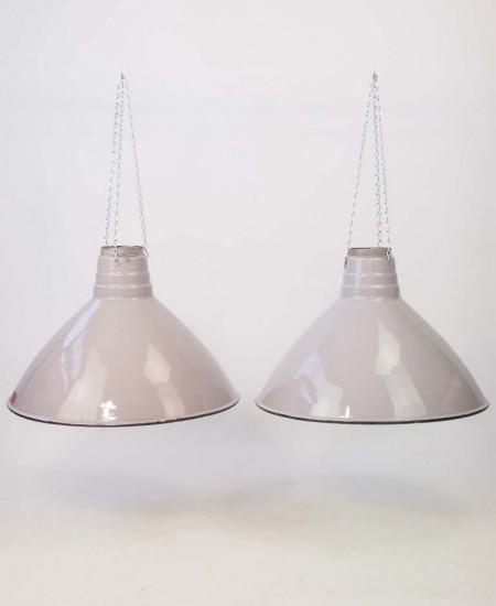 Pair Vintage Industrial Light Shades